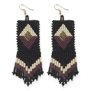 seed bead earrings | double diamond