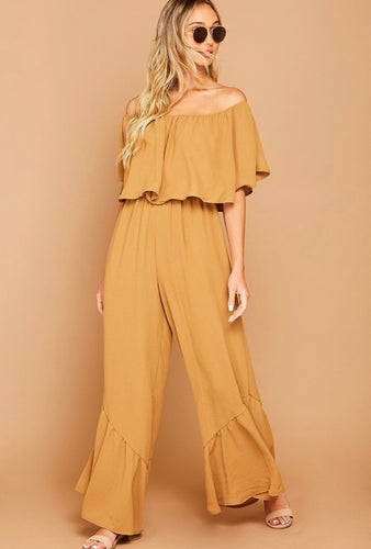 layne off the shoulder ruffle jumpsuit