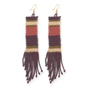 seed bead earrings | stripe fringe