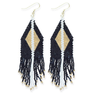 seed bead earrings | black + gold diamond