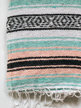 mint pink black mexican blanket throw yoga blanket handwoven beach