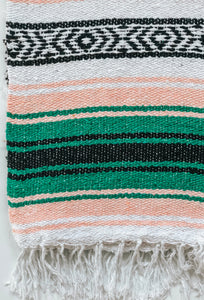 green blush black mexican blanket throw yoga blanket handwoven beach