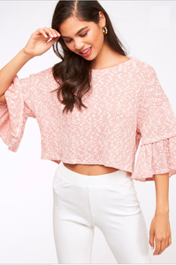 mauve gabrielle ruffle sleeve crop top