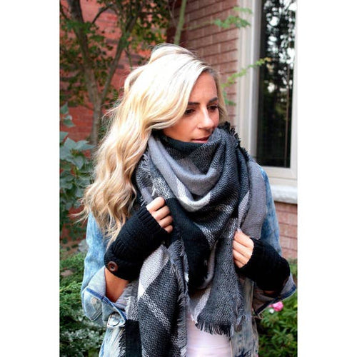 oversized plaid blanket scarf