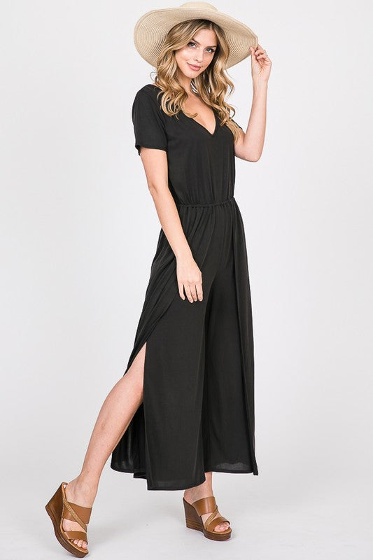 everyday short sleeve black slit pant jumpsuit