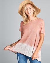 knit tie dye tee shirt with waffle pleated back detail