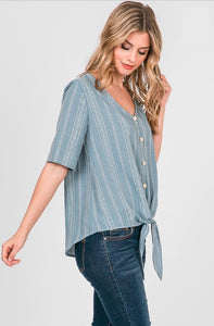 striped button short sleeve top with front tie