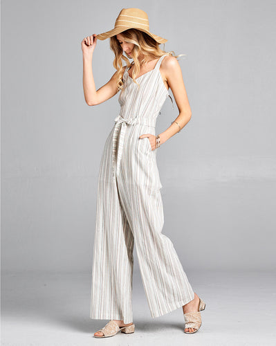 striped linen jumpsuit with front tie