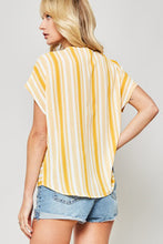 striped blouse short sleeve top with vneck back