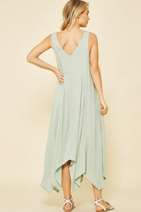 swing midi dress flowy bottom vneck back
