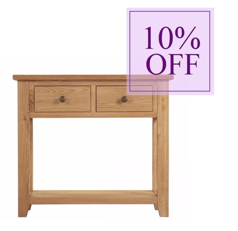 Mini Oxford Wax 2 Drawer Console Table