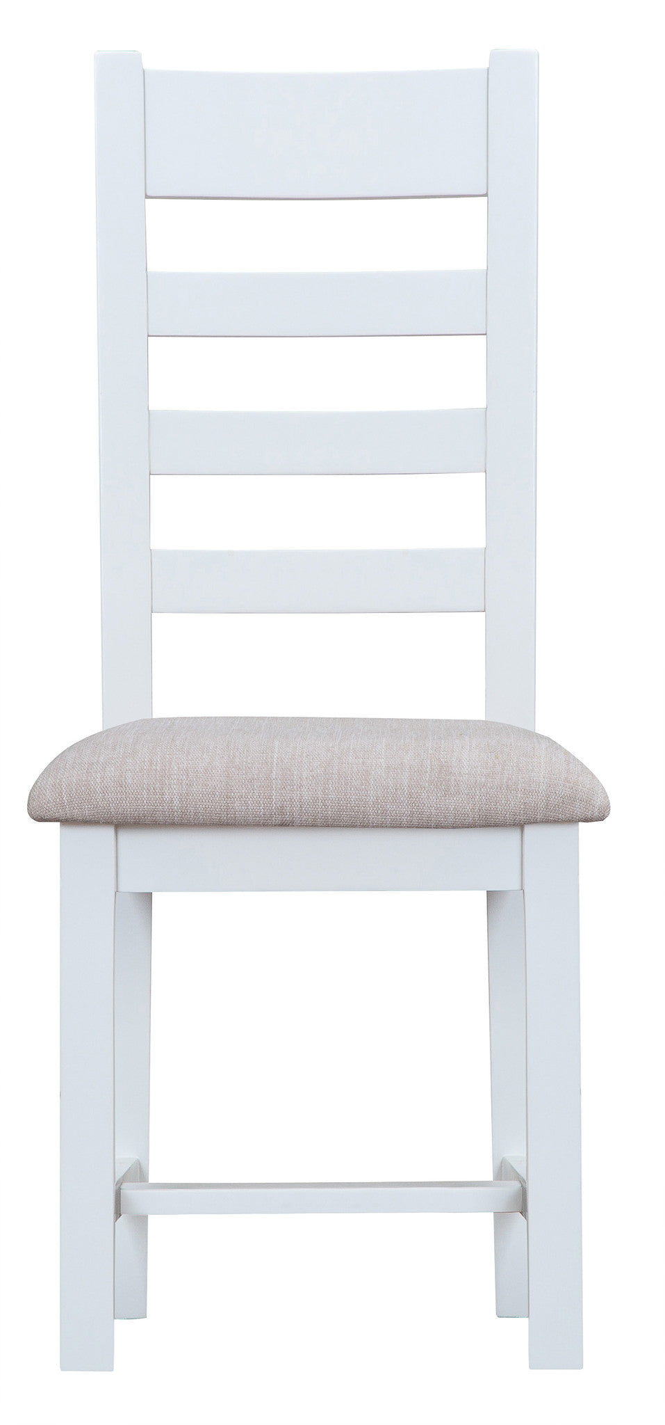 Kendal White Ladder Back Chair Fabric Seat – The Home Mill