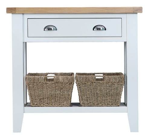 White Painted 1 Drawer Console Table. 2 Baskets.
