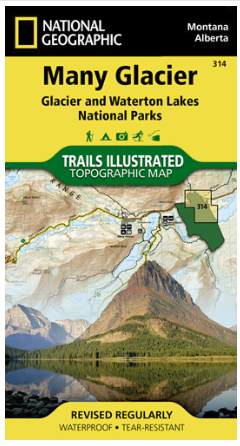 Montana/Alberta - National Geographic Many Glacier Topographic Map