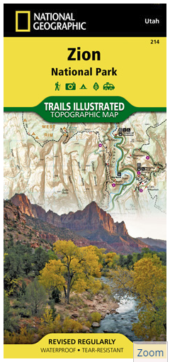 Utah - National Geographic Zion National Park Topographic Map ...