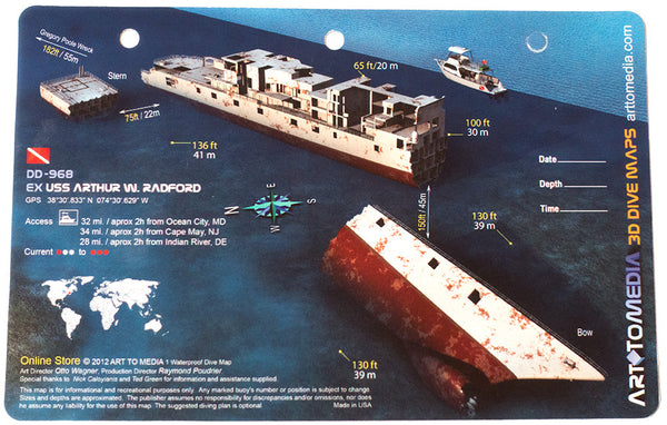 USS Arthur W. Radford, New Jersey Wreck Waterproof 3D Dive Site Map