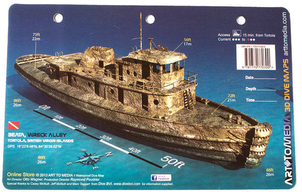 Beata, Wreck Alley, Tortola, British Virgin Islands - Dive Site Map