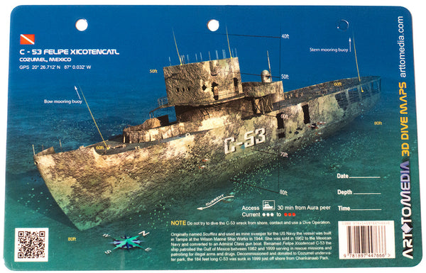 C-53 Felipe Xicotencatl, Cozumel, Mexico - Art to Media Dive Site Map