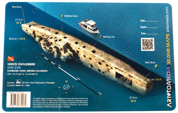 HMCS Chaudiere, Kunechin Point, British Columbia Waterproof 3D Wreck Dive Site Map