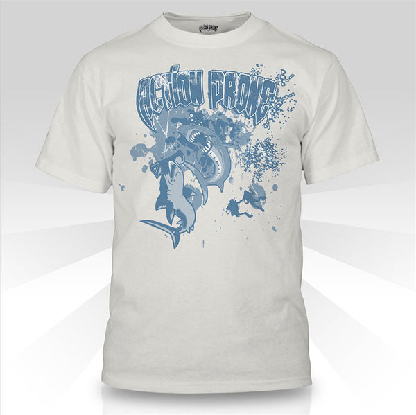 Cream Hammerhead vs. Great White Shark Diving T-Shirt