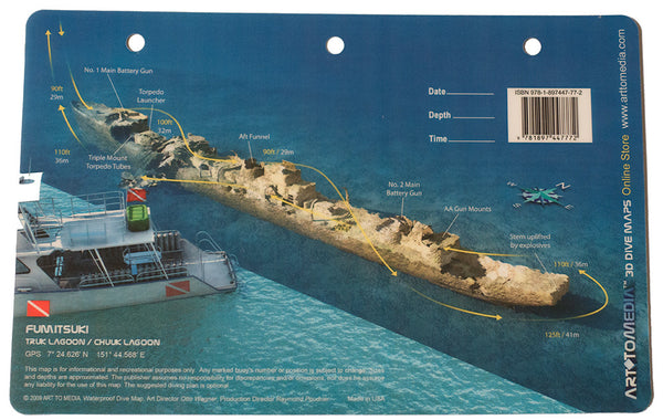 Art to Media Dive Site Map - Fumitsuki Destroyer in Truk Lagoon, Micronesia