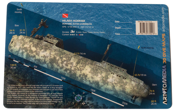 Hilma Hooker, Bonaire, Dutch Caribbean Waterproof 3D Wreck Dive Site Map