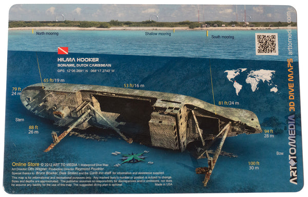 Hilma hooker bonaire dutch caribbean wreck diving map 3d site