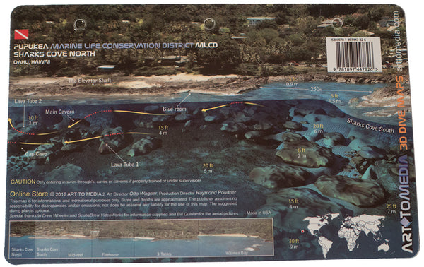 Shark's Cove North, South, and Mid-Reef, Pupukea, Oahu Hawaii, Waterproof Dive Site Card