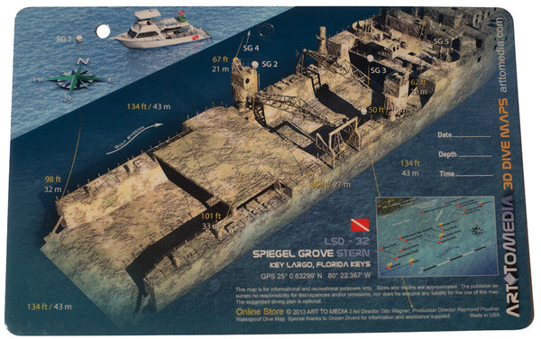 Spiegel Grove  Stern  Key Largo  Forida - Dive Site Map