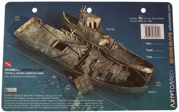 The Pat and Marie L., Wreck Alley, Tortola, British Virgin Islands, Waterproof 3D Dive Site Map
