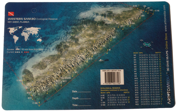 Art To Media Dive Site Card Haystacks and Western Sambo Ecological Reserve, Key West FL
