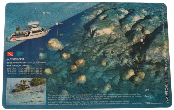 Haystacks and Western Sambo Ecological Reserve, Key West FL, 3D Waterproof Dive Site Card
