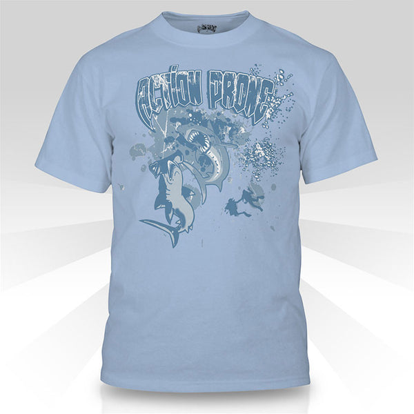 Powder Blue Hammerhead vs. Great White Shark Diving T-Shirt