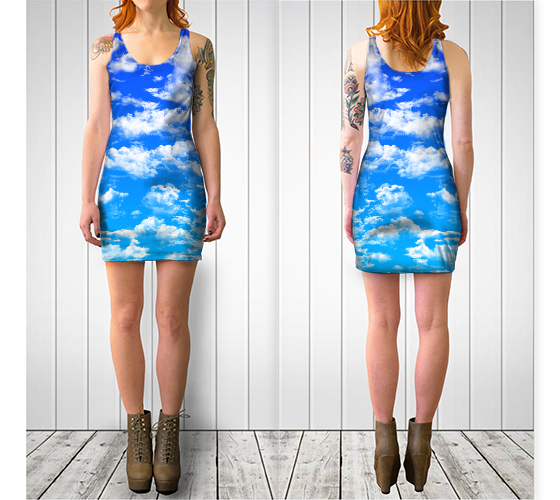 Clouds 2 Bodycon Dress -  - Bodycon dress - escapistWEAR