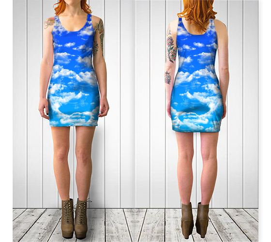 Clouds 3 Bodycon Dress -  - Bodycon dress - escapistWEAR