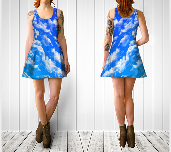 Clouds 1 Flare Dress -  - Flare dress - escapistWEAR
