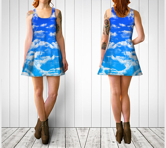 Clouds 2 Flare Dress -  - Flare dress - escapistWEAR