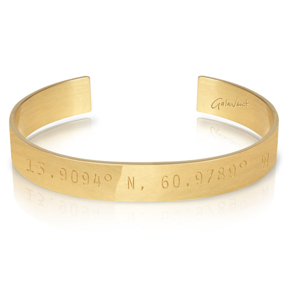 WORD UNISEX CUFF - ST. LUCIA'S NAUTICAL COORDINATES