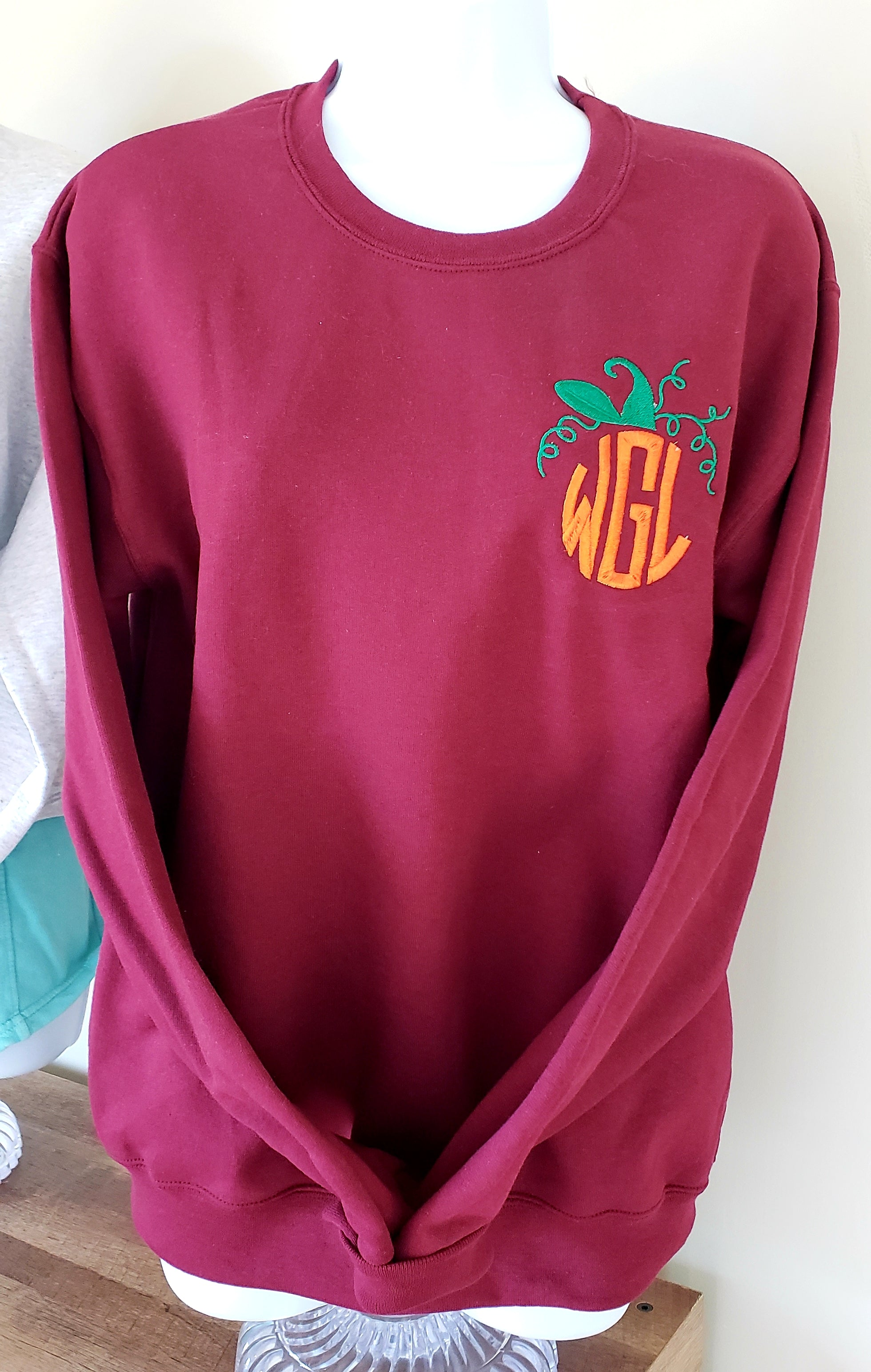 Pumpkin Monogram Crewneck