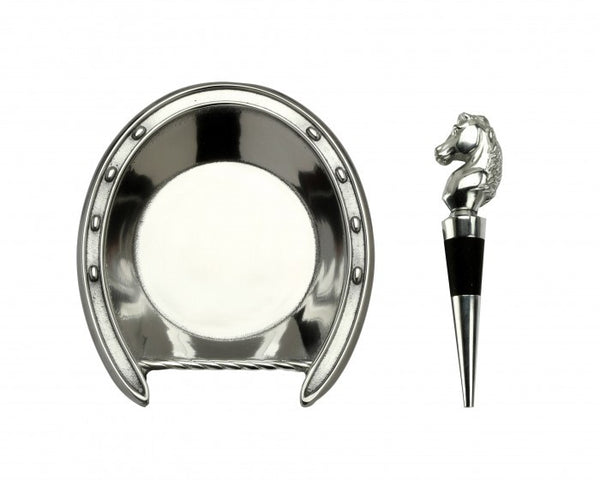 Horseshoe Wine Coaster and Stopper Set
