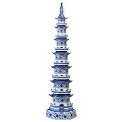 Blue and White Pagoda Tower - GDH | The decorators department Store