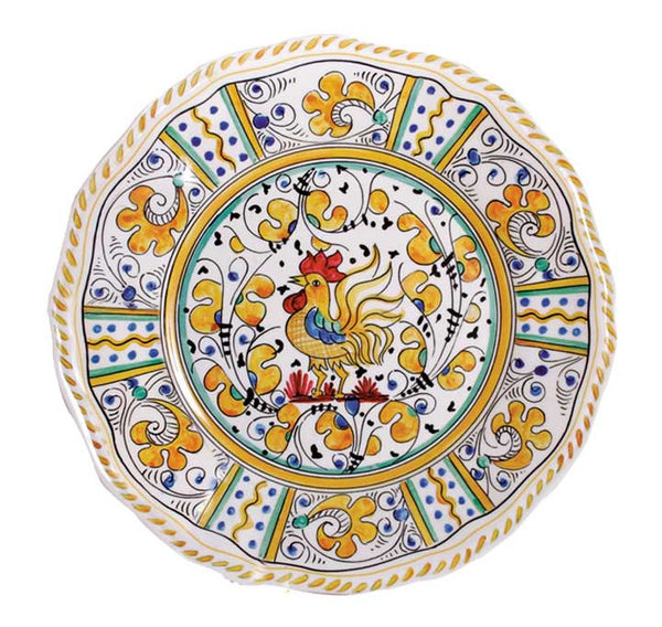 Rooster Yellow Melamine Dinner Plates S/4