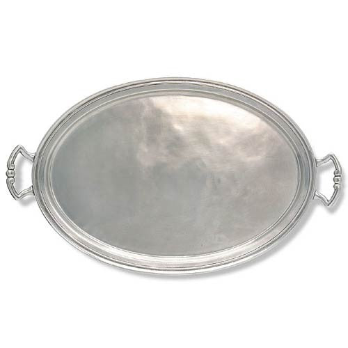 Match Pewter Oval Tray with Handles Extra Large - GDH | The decorators department Store