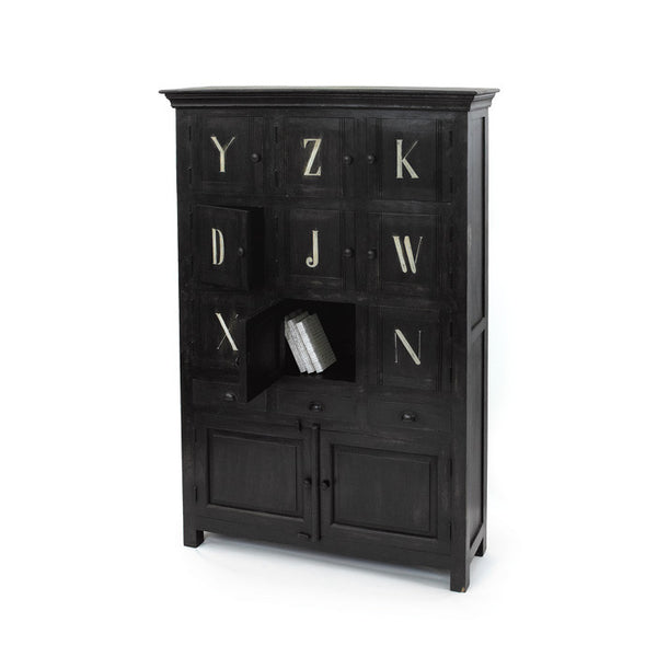 Alphabet Cabinet-Black - GDH | The decorators department Store