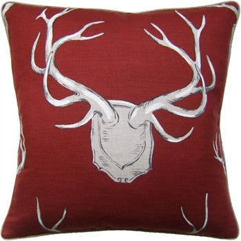 Red - Antlers Pillow - GDH | The decorators department Store