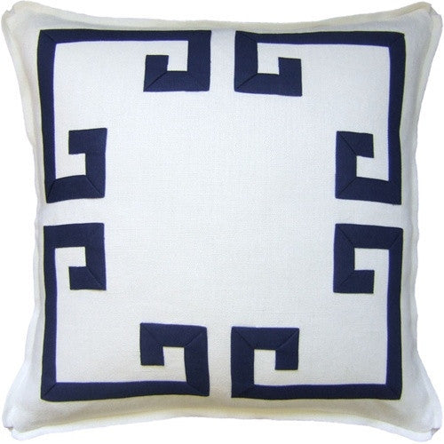 White -Aegean Fretwork Pillow - GDH | The decorators department Store