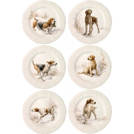 Gien Set of 6 Sologne Dessert Plates-Dogs - GDH | The decorators department Store