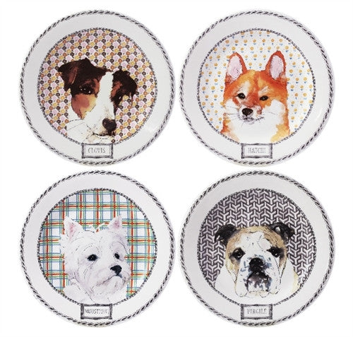 Gien Set of 4 Darling Dogs Dessert Plates - GDH | The decorators department Store