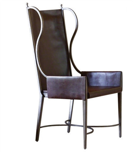 Global Views Iron and Leather Wing Chair - GDH | The decorators department Store