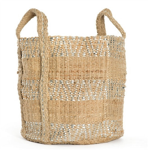 Two-Toned Jute Basket - GDH | The decorators department Store